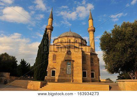 Martyrs mosque on sunset Baku city Azerbaijan