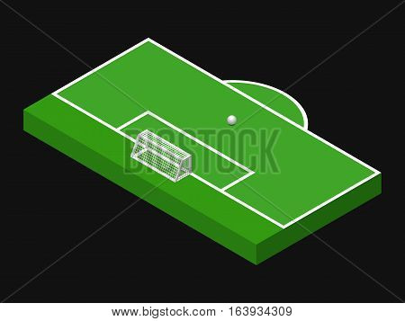 3D isometric illustration of football goal, part of football field, penalty area with ball. Vector illustration isolated on black. Soccer pitch, sport theme, editable element for your designs