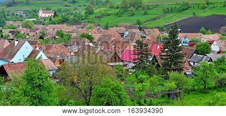 Panoramic view of Biertan village transylvania province Romania