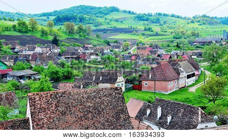 Traditional romanian houses in Biertan town on summer