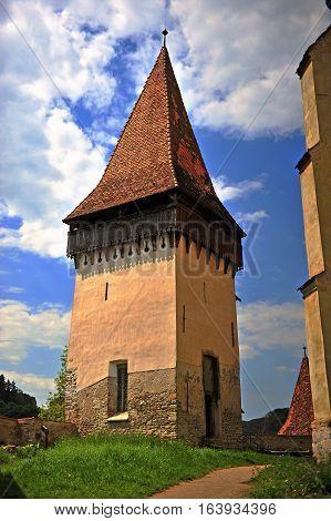 Old tower in Biertan town in Romania