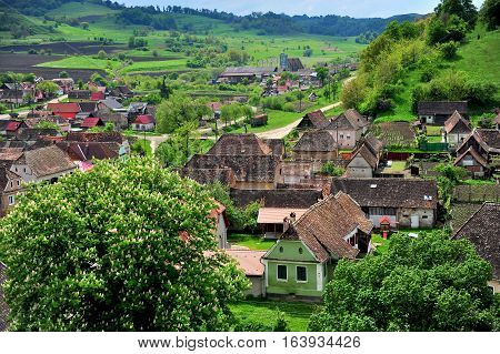 Houses in the typical town of Transylvania Romania