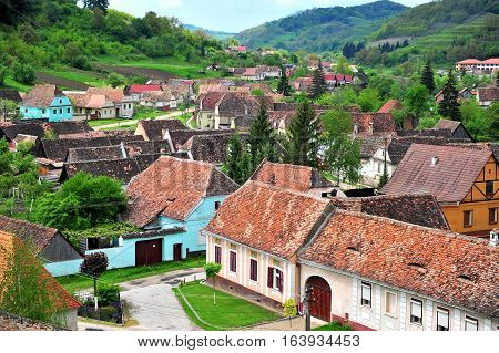 Houses of Beirtan town in Transylvania province Romania