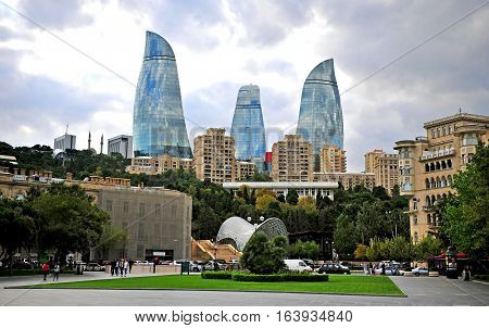 BAKU AZERBAIJAN - SEPTEMBER 25: View of Flame towers in Baku on September 25 2016. Baku is a capital and largest city of Azerbaijan.