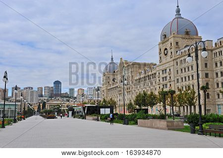 BAKU AZERBAIJAN - SEPTEMBER 26: Boulevard in Fizuli street Baku on September 26 2016. Baku is a capital and largest city of Azerbaijan.