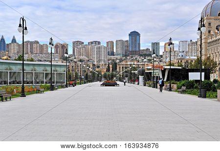 BAKU AZERBAIJAN - SEPTEMBER 26: Fizuli boulevard in city centre of Baku on September 26 2016. Baku is a capital and largest city of Azerbaijan.
