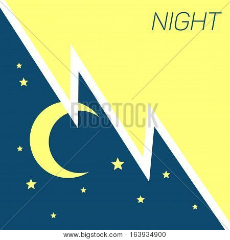 Vector crescent moon and stars night concept. Illustration of dark night with star
