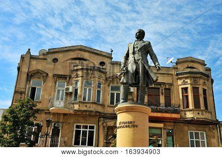 BAKU AZERBAIJAN - SEPTEMBER 26: Monument in Fizuli street Baku on September 26 2016. Baku is a capital and largest city of Azerbaijan.
