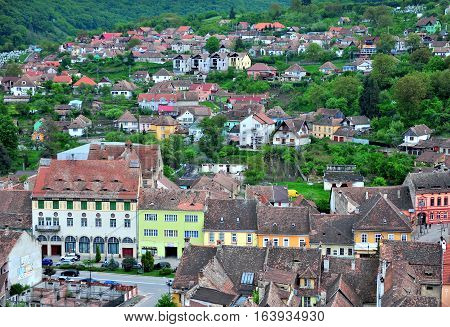 SIBIU ROMANIA - MAY 5: Colourful houses of Sighisoara old town Romania on May 5 2016. Sibiu is the city located in Transylvania region of Romania.