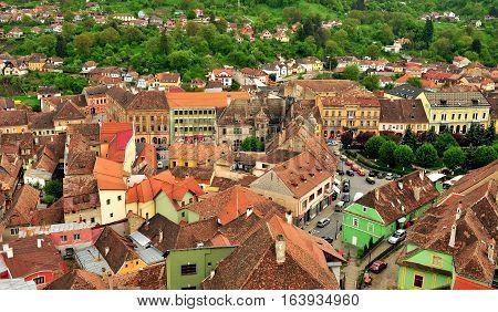 SIBIU ROMANIA - MAY 5: Top view of Sighisoara old town Romania on May 5 2016. Sibiu is the city located in Transylvania region of Romania.