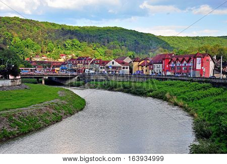 SIBIU ROMANIA - MAY 5: View of Sighisoara old town by the river Romania on May 5 2016. Sibiu is the city located in Transylvania region of Romania.