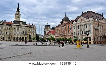 NOVI SAD SERBIA - MAY 13: View of central square of Novi Sad city Serbia on May 13 2016. Novi Sad is the second largest city of Serbia.