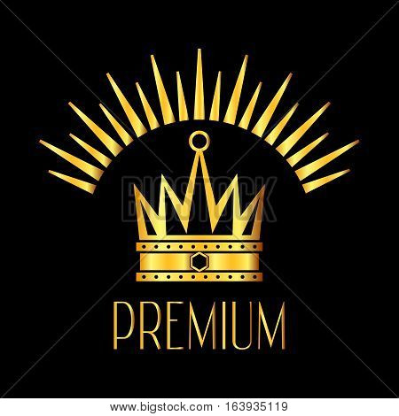 Premiun quality glowing crown logo in gold black. Brightly crown decoration illustration