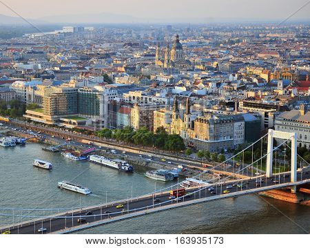 BUDAPEST HUNGARY - MAY 21: Top view of Elisabeth bridge and Budapest city on May 21 2016. Budapest is the capital and largest city of Hungary.