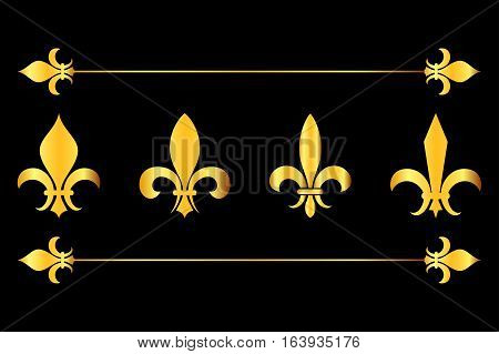 Golden vector fleur de lys design elements black background. French flower lily illustration