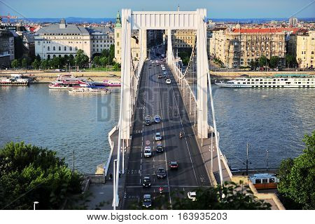 BUDAPEST HUNGARY - MAY 23: Elisabeth bridge and panorama of Budapest on May 23 2016. Budapest is the capital and largest city of Hungary.