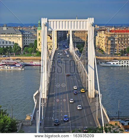 BUDAPEST HUNGARY - MAY 23: Road traffic on Elisabeth bridge in Budapest city on May 23 2016. Budapest is the capital and largest city of Hungary.