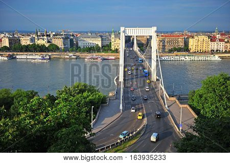 BUDAPEST HUNGARY - MAY 23: View of Elisabeth bridge in Budapest city on May 23 2016. Budapest is the capital and largest city of Hungary.