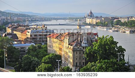 BUDAPEST HUNGARY - MAY 23: Panorama of Budapest city centre on May 23 2016. Budapest is the capital and largest city of Hungary.