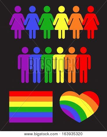 Vector rainbow gay LGBT rights icons and symbols black. Tolerance and rights to love illustration