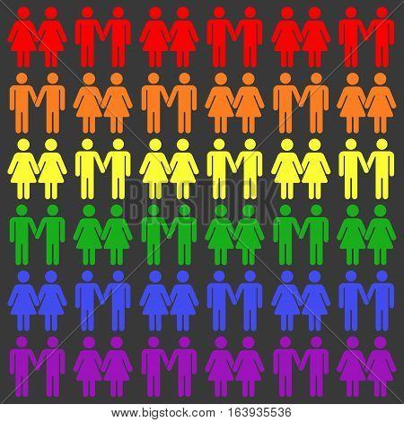 Vector gay LGBT seamless pattern. Gay and lesbian rainbow illustration