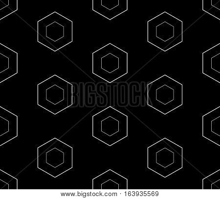 Vector monochrome seamless pattern, repeat geometric background white linear hexagons on black backdrop. Abstract endless texture for prints, digital, decoration, web, textile, furniture, wraping