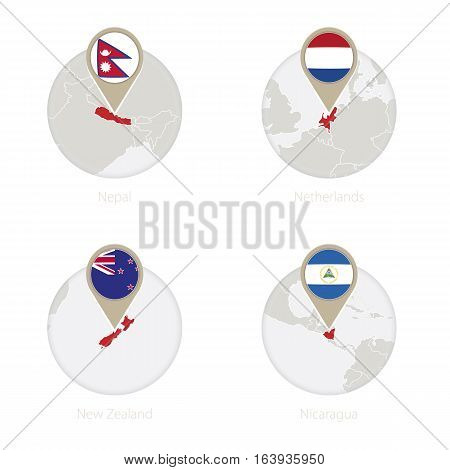 Nepal, Netherlands, New Zealand, Nicaragua Map And Flag In Circle.