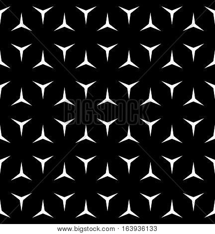 Vector seamless pattern, minimalist monochrome geometric texture. Simple background with white windmill figures on black backdrop. Editable design element for prints, decoration, digital, textile, web
