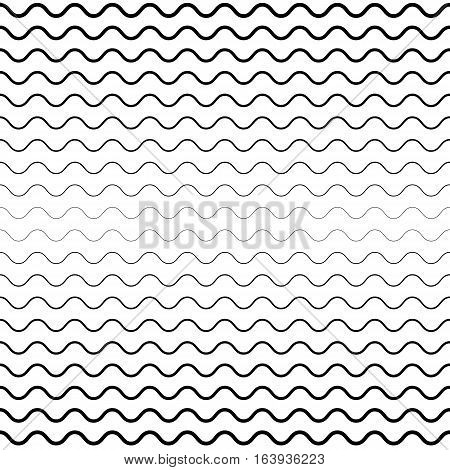 Vector seamless pattern, horizontal wavy lines. Monochrome background with halftone transition effect. Simple black & white repeat texture with curved ranges. Design element for prints, decor, digital projects, textile, firniture