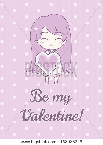 Cute girl holding heart with text. On pastel pink polka dot background. Vector illustration. Sticker and card design. Be my Valentine. In pink pastel colors.