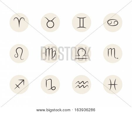 Set of vector Zodiac signs in circles white background. Illustration of astrology calendar