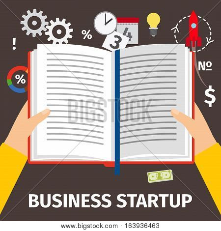 Reading book about business startup, top view. Vector illustration