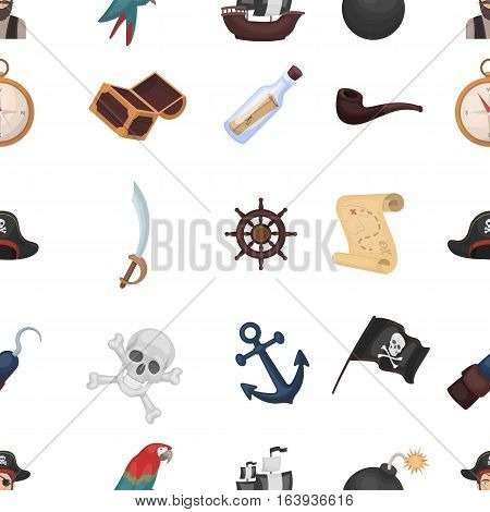 Pirates pattern icons in cartoon style. Big collection of pirates vector symbol stock