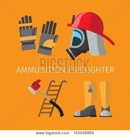 Amunition of firefighter on yellow background vector illustration