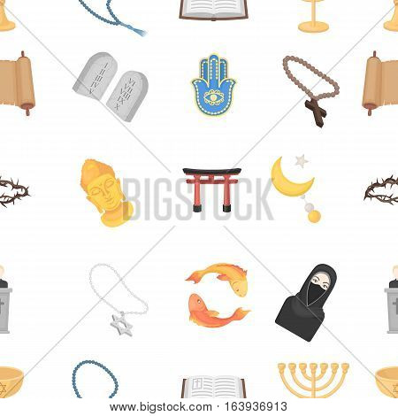 Religion pattern icons in cartoon style. Big collection of religion vector symbol.