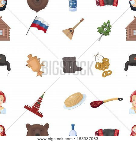 Russia country pattern icons in cartoon design. Big collection of Russia country vector symbol stock illustration
