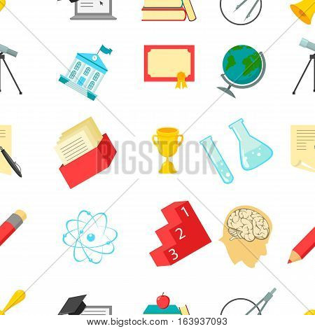 School pattern icons in cartoon style. Big collection school vector symbol stock