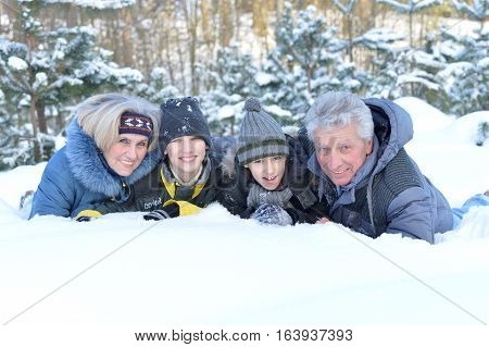 Portrait of a grandparents with gransons outdoors, in winter