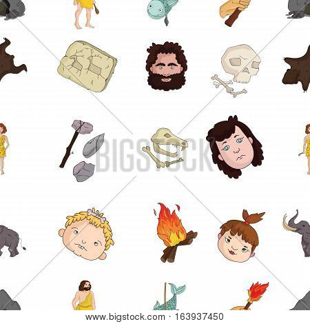 Stone age pattern icons in cartoon style. Big collection of stone age vector symbol stock