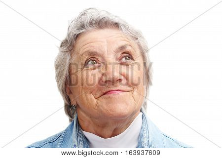 Old woman smile face on a white background