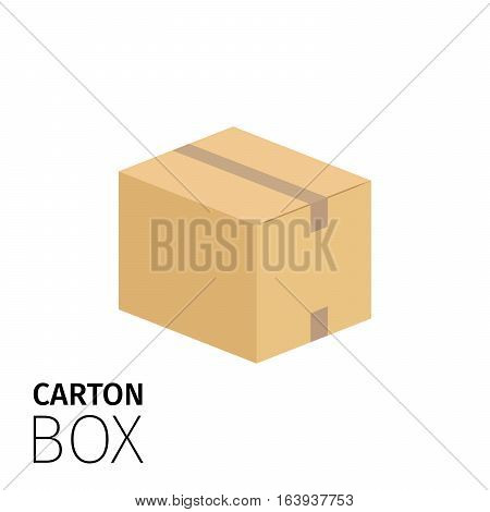 Carton box sealed with tape. Vector flat item isolated on white