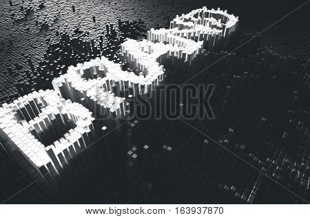 A 3D render of a microscopic closeup concept of small cubes in a random layout that build up to form the word brand illuminated