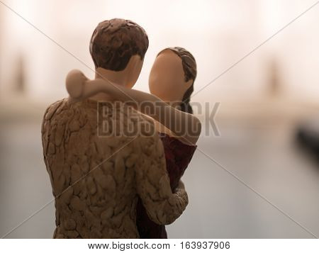 Wooden Dummy Couple Hug Eachother Love Care
