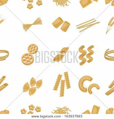 Types of pasta pattern icons in cartoon style. Big collection of types of pasta vector symbol stock