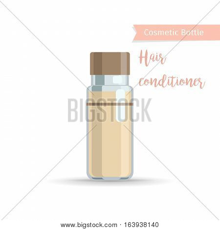 Cosmetics bottle product with hand drawn inscription hair conditioner. Vector illustration