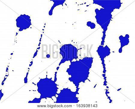 Ink splash stains and strokes. Paint splatter. Blue blots on white. Splatter Background. Vector illustration. Abstract background. Grunge template.