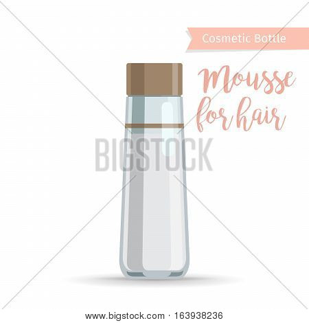 Cosmetics bottle product with hand drawn inscription mousse for hair. Vector illustration