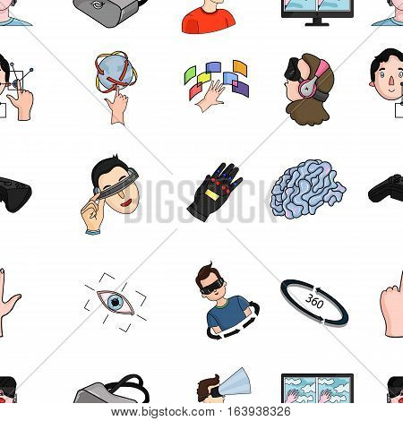 Virtual reality pattern icons in cartoon style. Big collection of virtual reality vector symbol stock