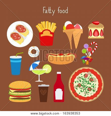 Fatty food vector illustration on the brown background