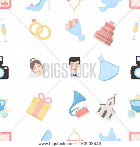Weeding pattern icons in cartoon style. Big collection wedding vector symbol stock
